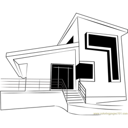 Modern Cottage Free Coloring Page for Kids