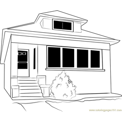 Residential Cottage Free Coloring Page for Kids