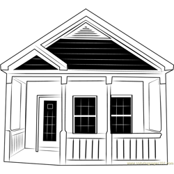 Single Front Cottage Free Coloring Page for Kids
