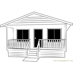 Small Cabin Cottage Free Coloring Page for Kids