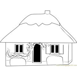 Small Cottage House Free Coloring Page for Kids