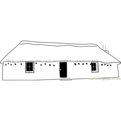 Snow Cottages Long Free Coloring Page for Kids