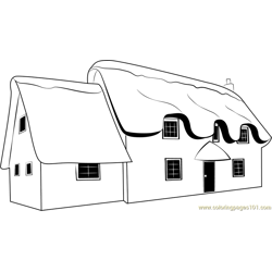Snow Cottages Free Coloring Page for Kids