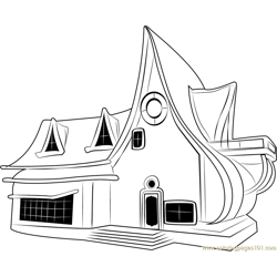 Star Cottage Free Coloring Page for Kids