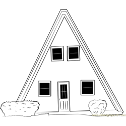 Unique Small Cabin Cottage Free Coloring Page for Kids