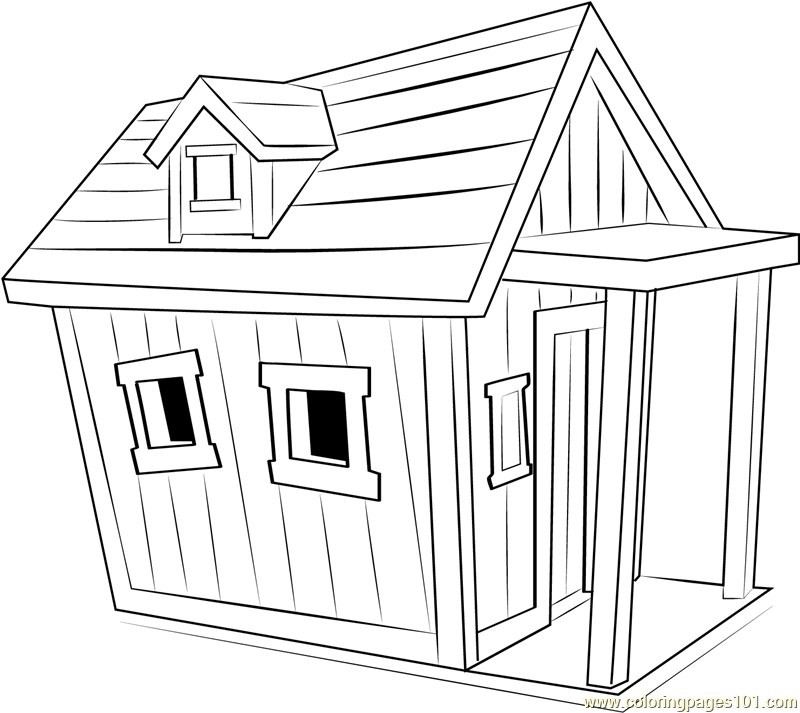 Cartoon Dog House Coloring Page