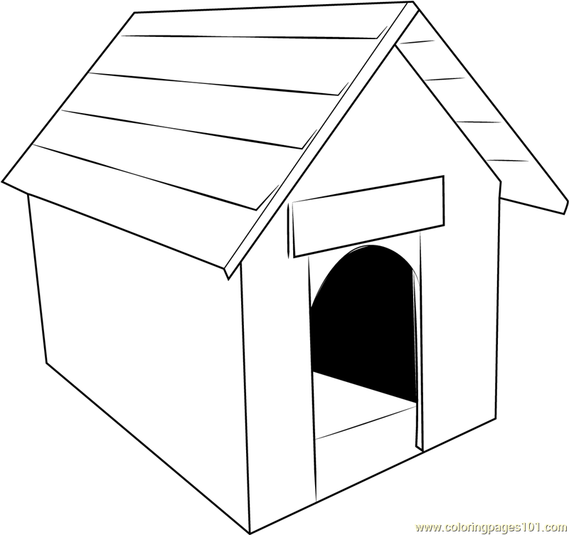 Classic Dog House Coloring Page Free Dog House Coloring