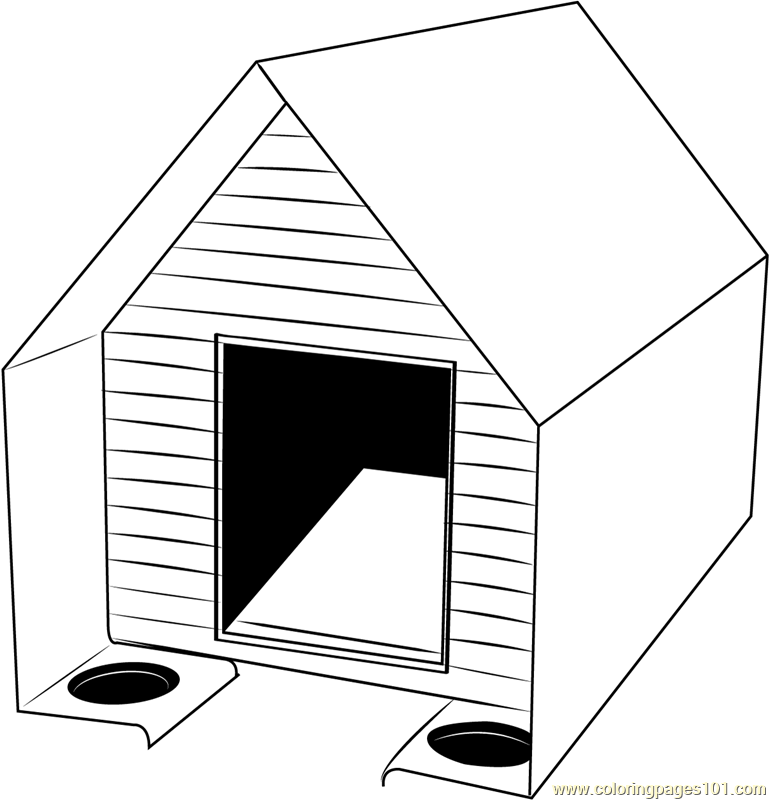 Cute dog house coloring page free dog house coloring for Coloring pages of dog houses