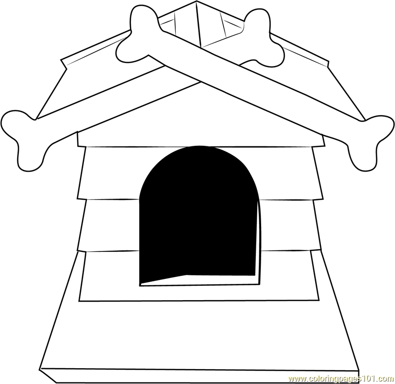 Dog House with Bone Coloring Page