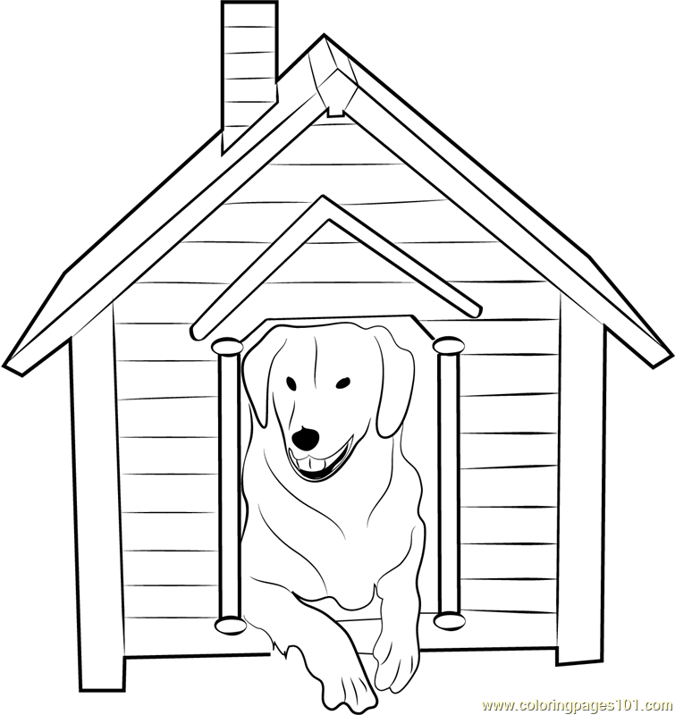 Dog House With Dog Inside Coloring Page
