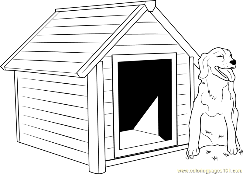 Dog House With Dog Outside Coloring Page