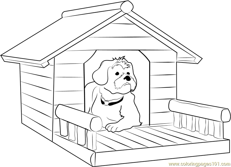 Dog House With Porch Coloring Page