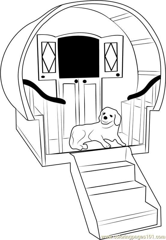 Dog House with Stairs Coloring