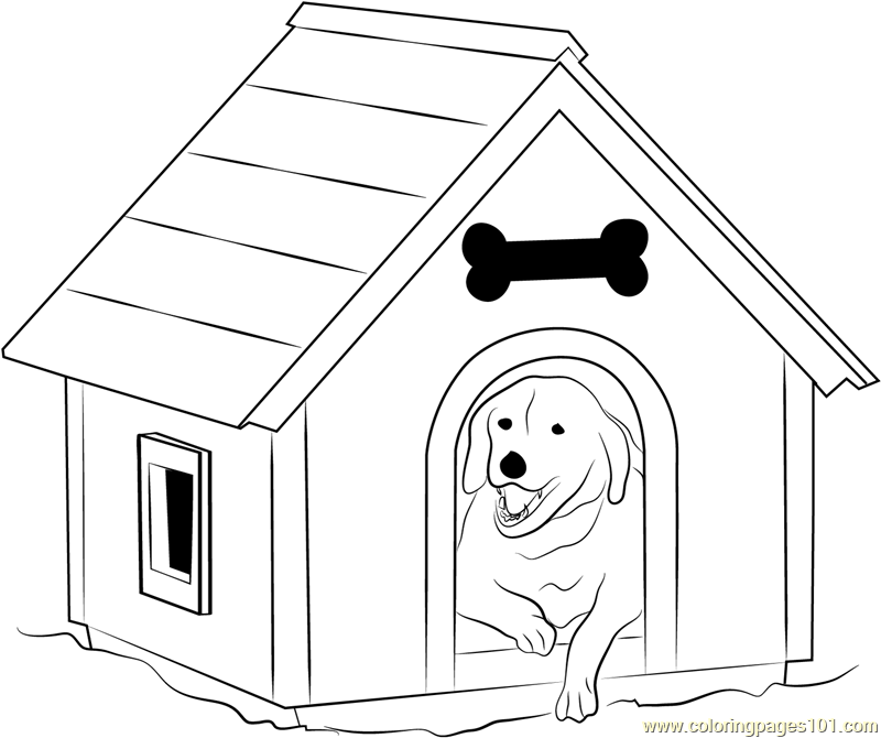 Dog House with Window Coloring Page