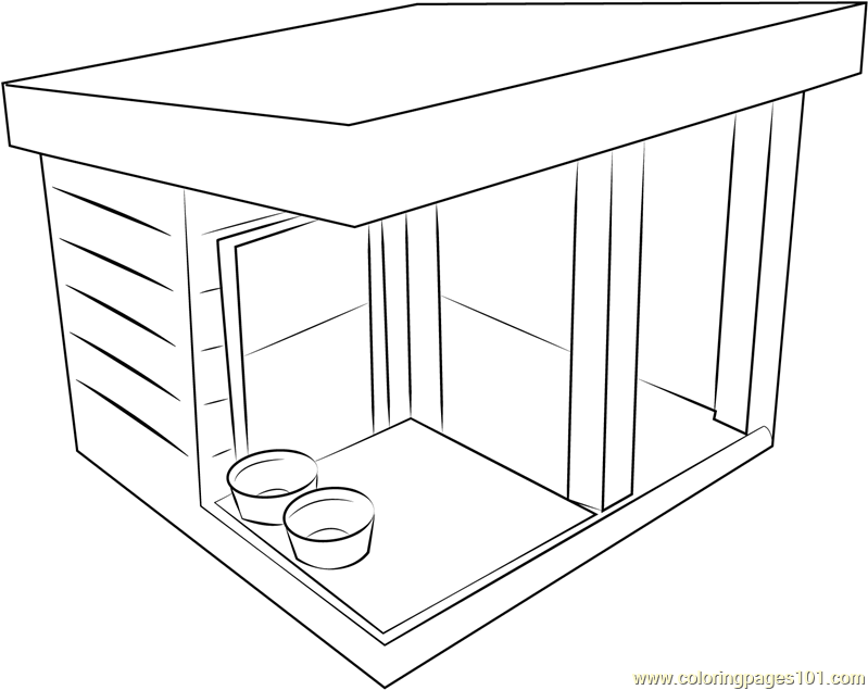Dog shed coloring page free dog house coloring pages for House pets coloring pages