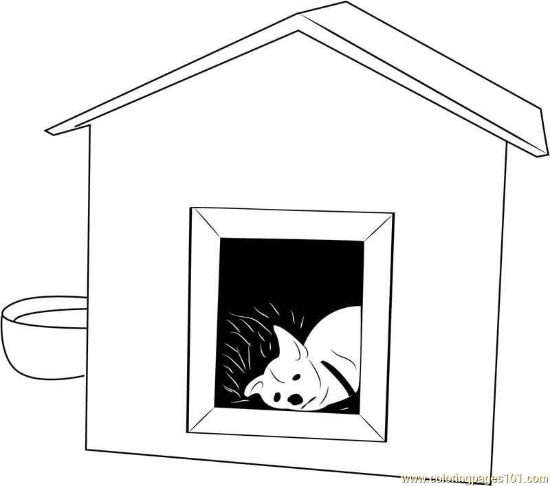 Dog Sleeping In House Coloring Page