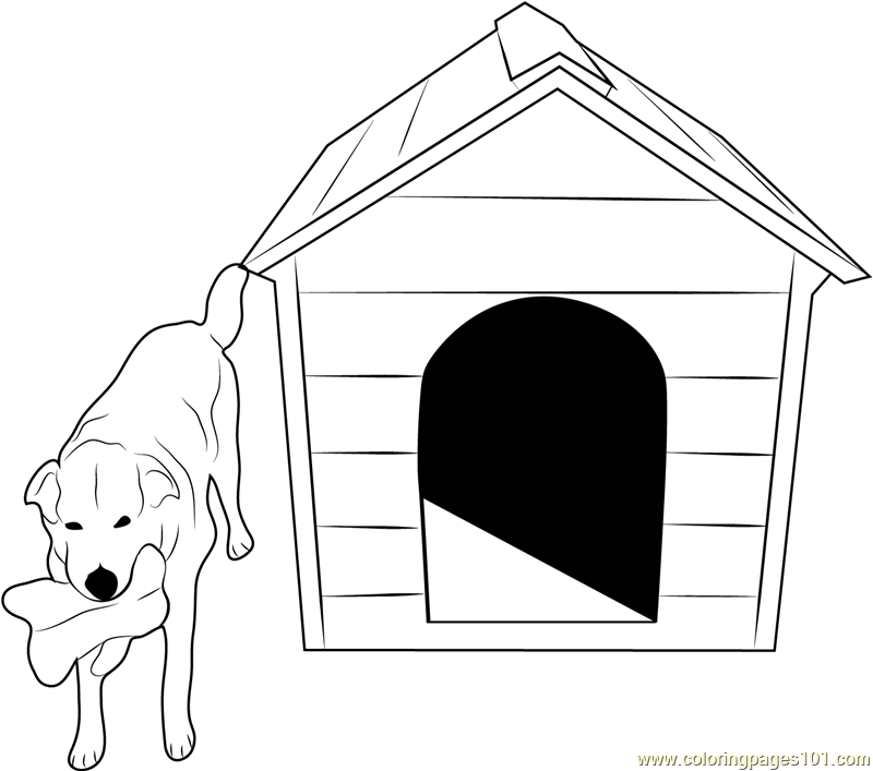 Dog With Bone Coloring Page