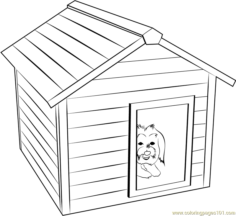 Doggie House Coloring Page
