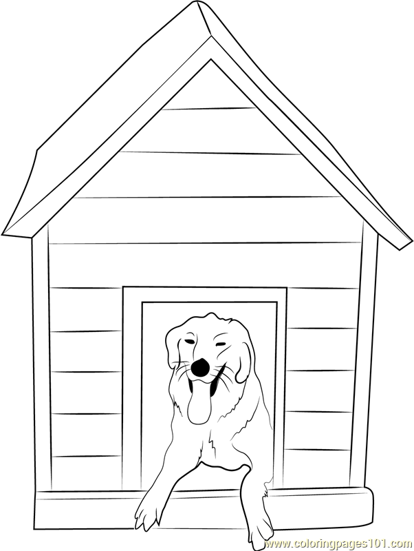 82 Dog House Coloring Page