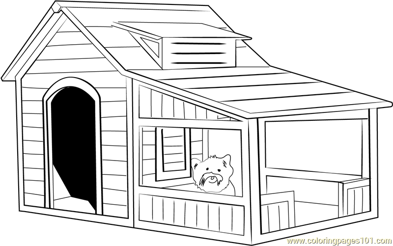 Extra Large Dog House Coloring Page