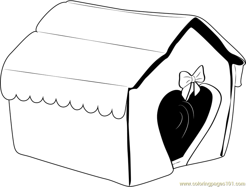 Heart Shape Dog House Coloring Page