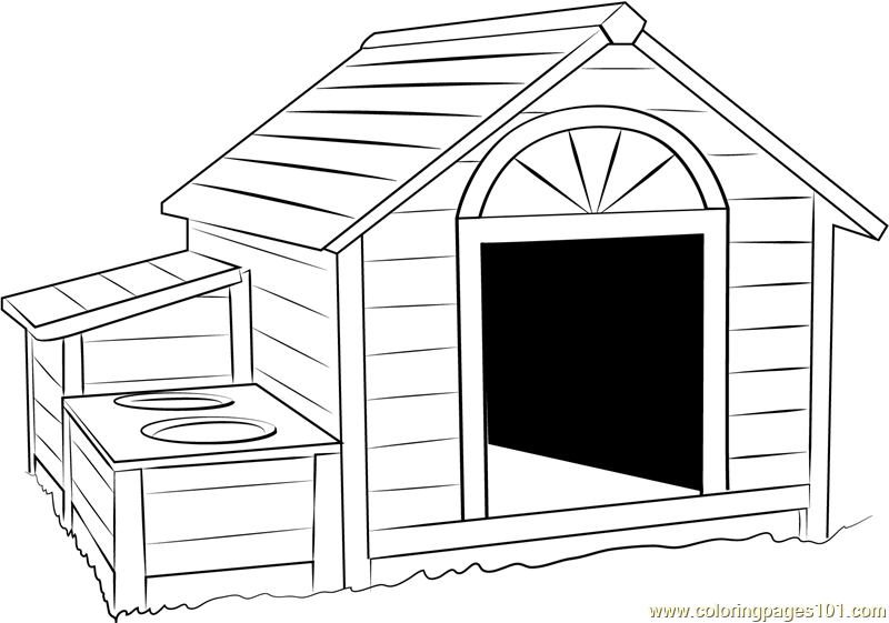 Huge Dog House Coloring Page