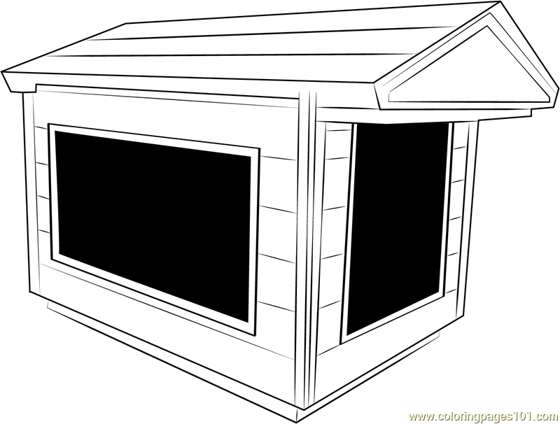 Indoor Dog House Coloring Page