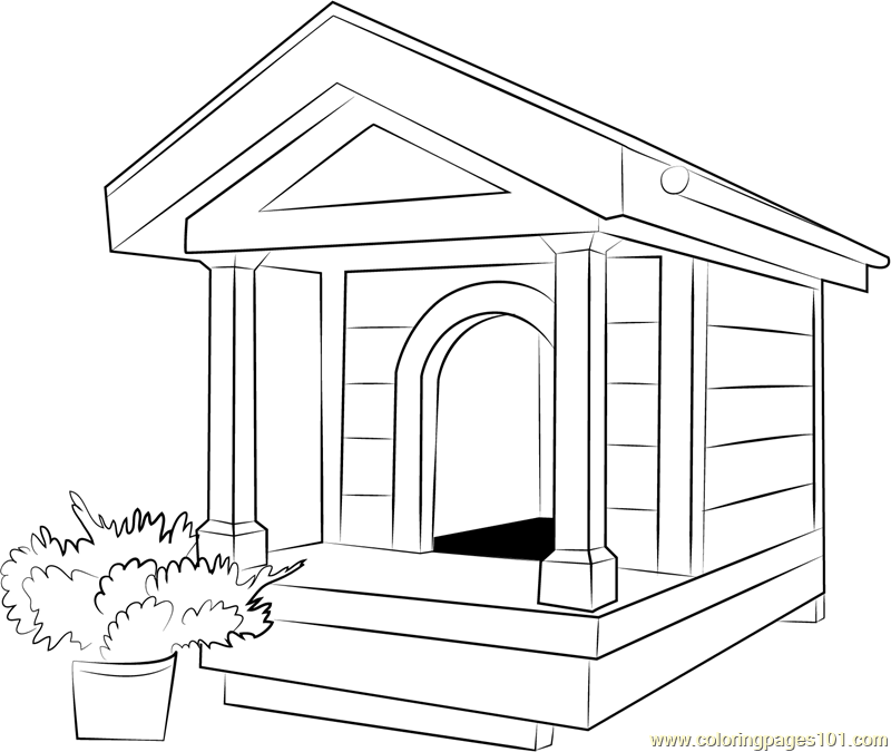 Large Dog House Coloring Page