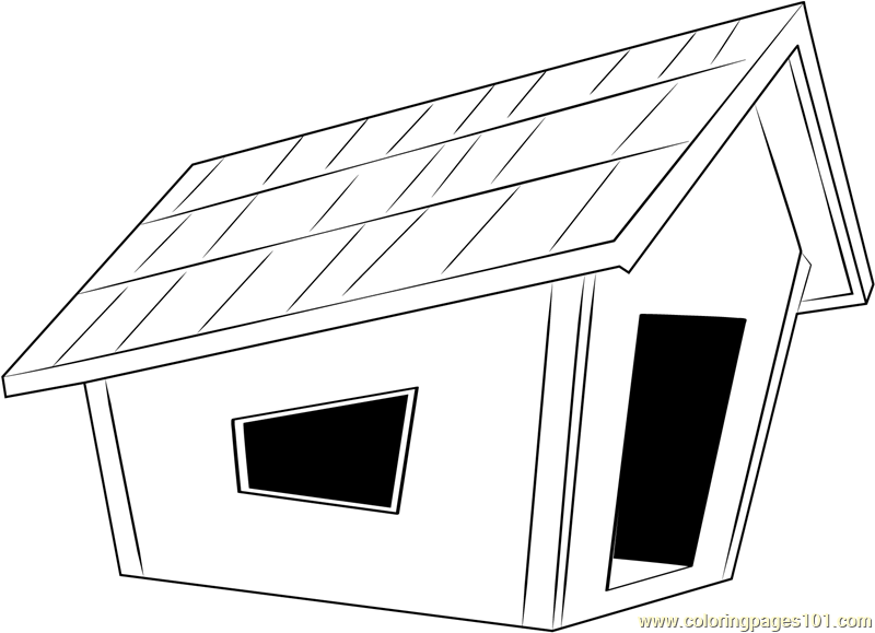 Modern Dog House Coloring Page