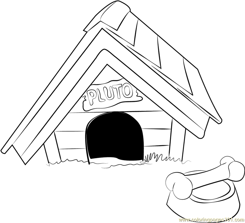 Pluto Dog House Coloring Page