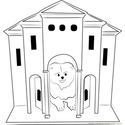 Dog Castle Free Coloring Page for Kids
