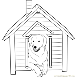 Dog House with Dog Inside