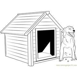 Dog House with Dog Outside