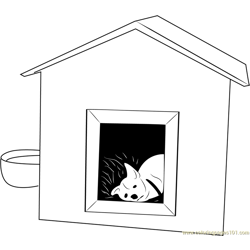 Dog Sleeping in House Free Coloring Page for Kids