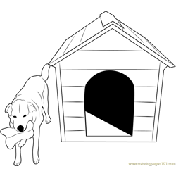 Dog with Bone Free Coloring Page for Kids