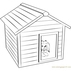 Doggie House Free Coloring Page for Kids