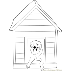 Doggy House Free Coloring Page for Kids