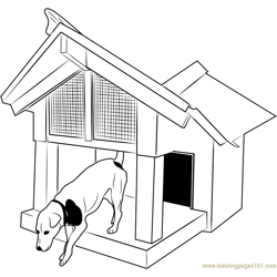 Doghouse with Deck Free Coloring Page for Kids