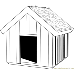 Green Dog House Free Coloring Page for Kids