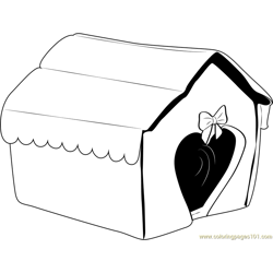 Heart Shape Dog House Free Coloring Page for Kids