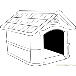 Home for Dog Free Coloring Page for Kids