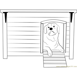 House 4 Dog Free Coloring Page for Kids
