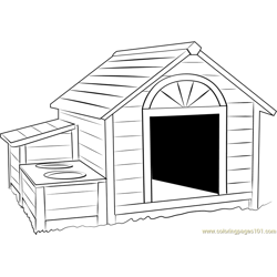 Huge Dog House Free Coloring Page for Kids