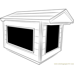 Indoor Dog House Free Coloring Page for Kids