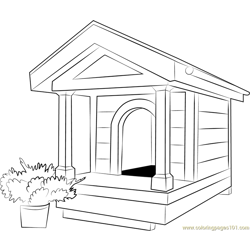 Large Dog House Free Coloring Page for Kids
