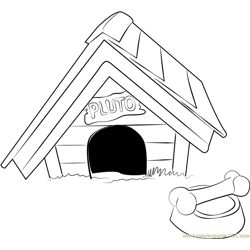 Pluto Dog House Free Coloring Page for Kids