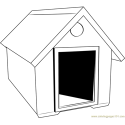 Simple Dog House Free Coloring Page for Kids