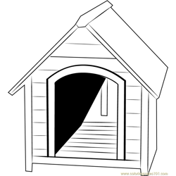 Small Dog House Free Coloring Page for Kids