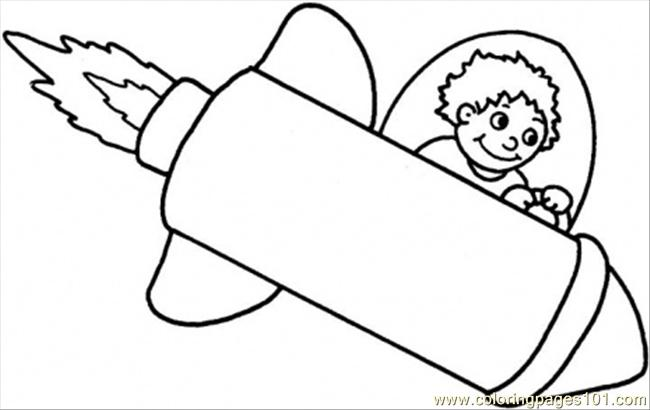 Boy On A Space Rocket Coloring Page