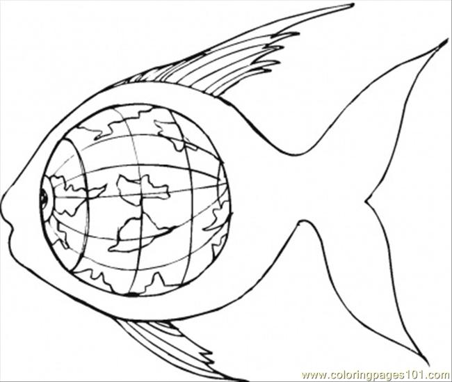 Earth Inside Of The Fish Coloring Page